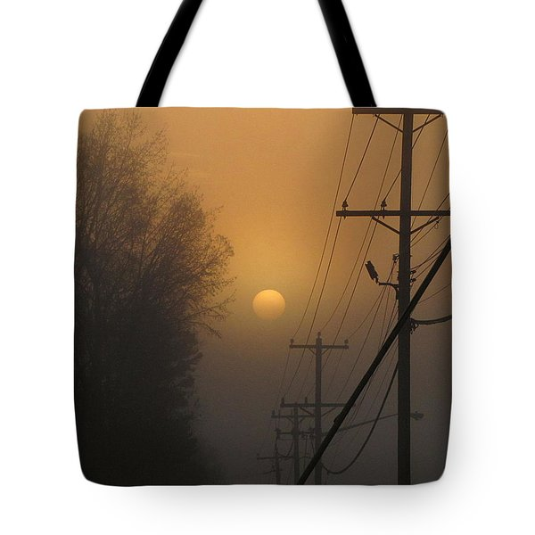 Tote Bag featuring the photograph Foggy Sunrise by Greg Simmons