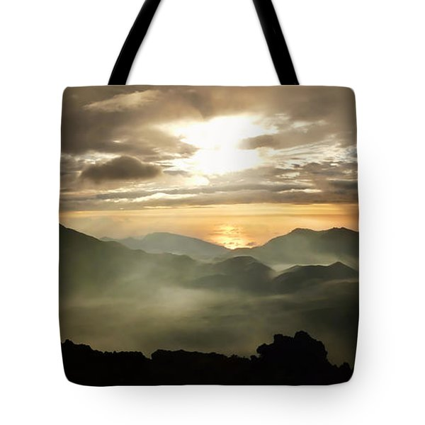 Foggy Sunrise Over Haleakala Crater On Maui Island In Hawaii Tote Bag