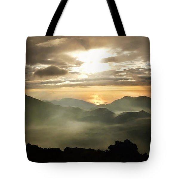 Foggy Sunrise Over Haleakala Crater On Maui Island In Hawaii Tote Bag