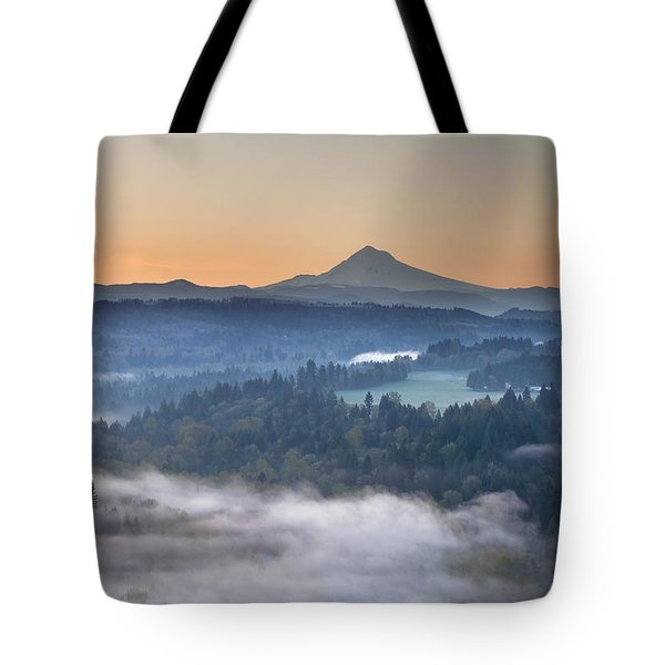 Tote Bag featuring the photograph Foggy Sunrise Over Sandy River And Mount Hood by JPLDesigns
