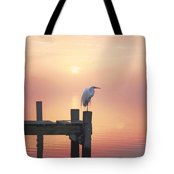 Foggy Sunset On Egret Tote Bag by Benanne Stiens