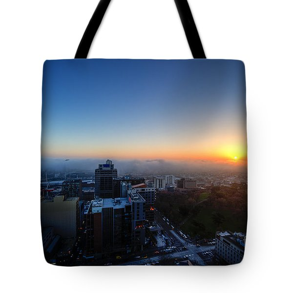 Foggy Sunset Tote Bag