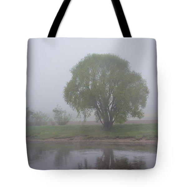 Foggy Elbe Tree Tote Bag