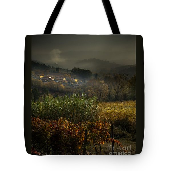 Foggy Tuscan Valley  Tote Bag
