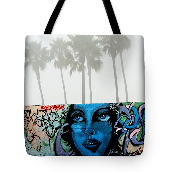 Tote Bag featuring the photograph Foggy Venice Beach by Art Block Collections