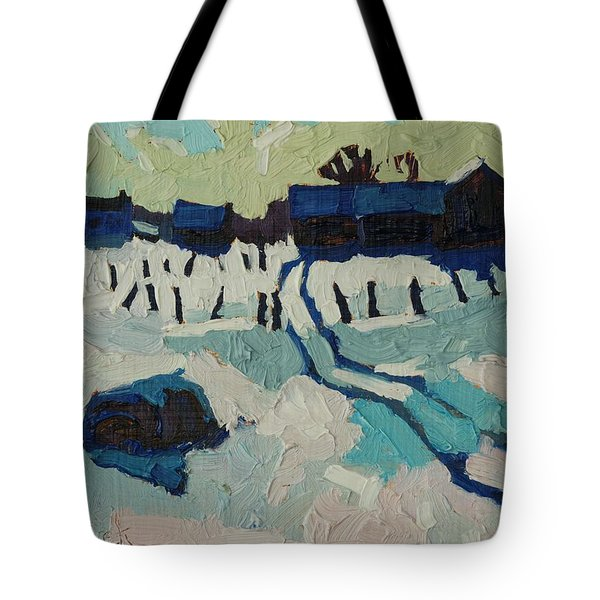 Foley Farm In Winter Tote Bag by Phil Chadwick