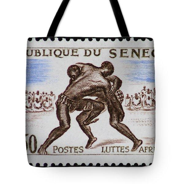 Folk Wrestling Vintage Postage Stamp Print Tote Bag