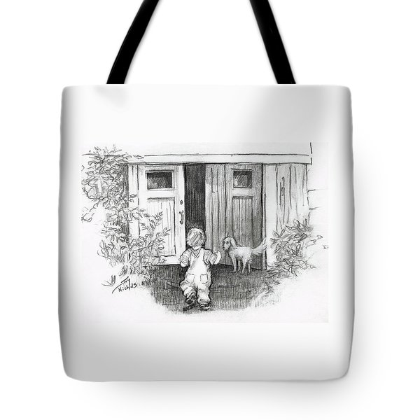 Tote Bag featuring the drawing Follow Me by Joy Nichols