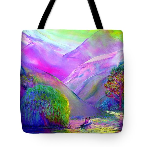 Tote Bag featuring the painting  Love Is Following The Flow Together by Jane Small