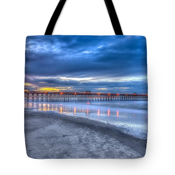 Folly Beach Fishing Pier Tote Bag by Keith Allen