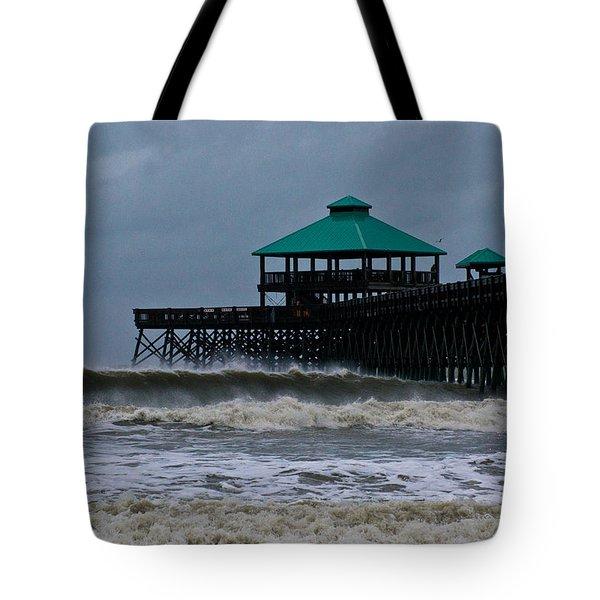Folly Beach Pier During Sandy Tote Bag