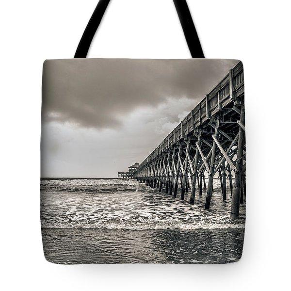 Tote Bag featuring the photograph Folly Beach Pier by Sennie Pierson