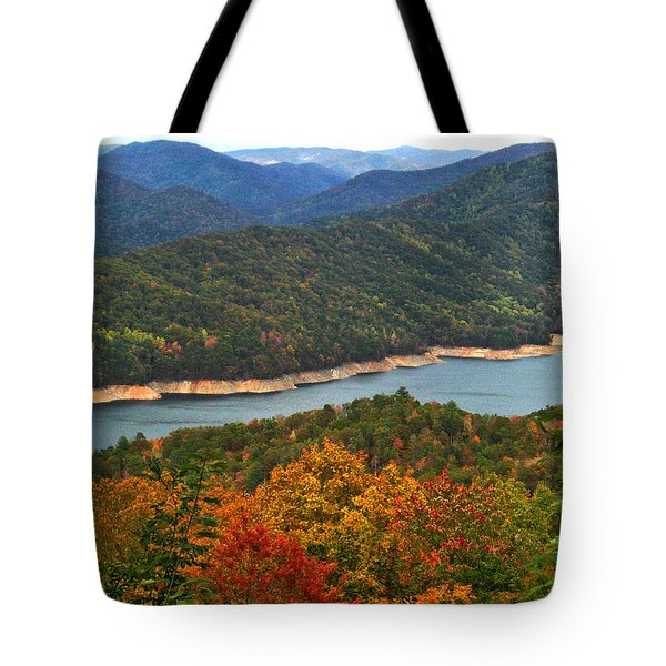 Fontana Lake In Fall Tote Bag
