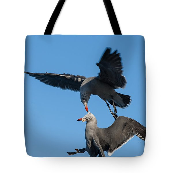 Tote Bag featuring the photograph Food Fight by Sonny Marcyan