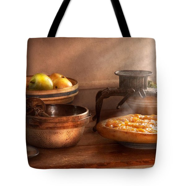 Food - Pie - Mama's Peach Pie Tote Bag by Mike Savad
