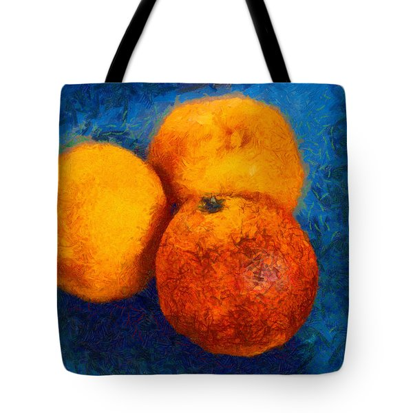 Food Still Life - Three Oranges On Blue - Digital Painting Tote Bag