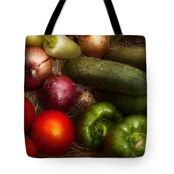 Food - Vegetables - Onions Tomatoes Peppers And Cucumbers Tote Bag by Mike Savad