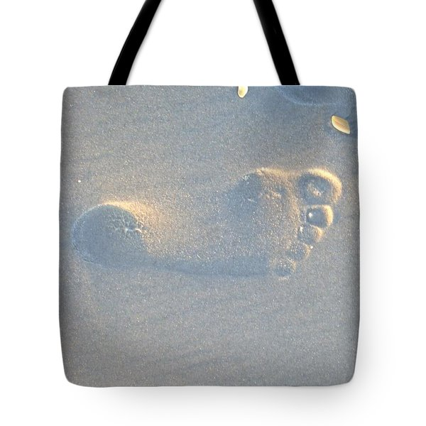 Tote Bag featuring the photograph Foot Print In The Sand by Jocelyn Stephenson