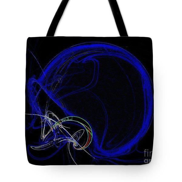 Football Helmet Blue Fractal Art Tote Bag by Andee Design