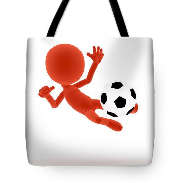 Football Soccer Shooting Jumping Pose Tote Bag by Michal Bednarek