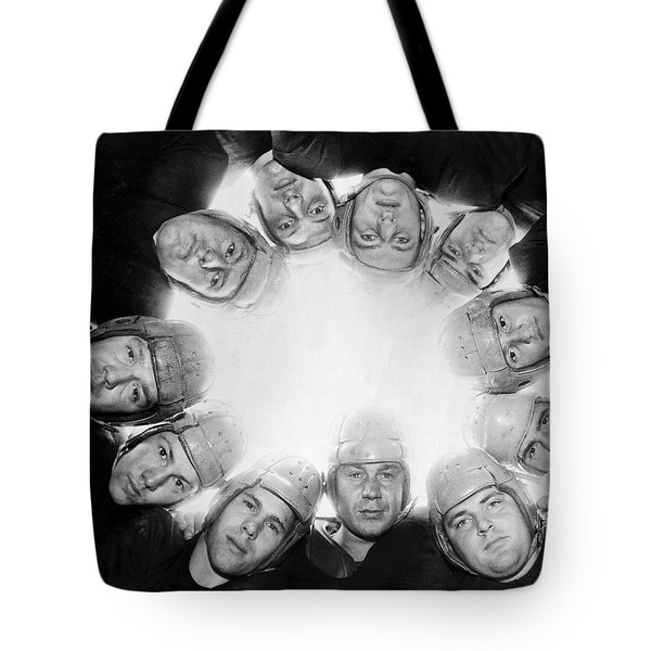 Football Team Huddle Tote Bag by Underwood Archives