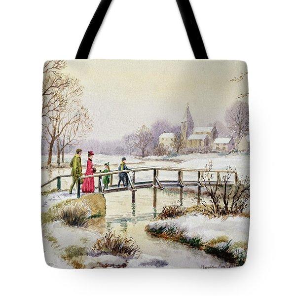 Footbridge In Winter Tote Bag by Stanley Cooke