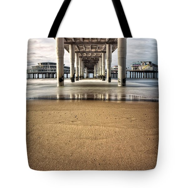 Footprints In The Sand Tote Bag by Dave Bowman