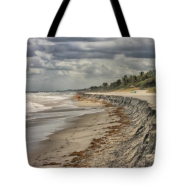 Footprints In The Sand Tote Bag by Dennis Baswell
