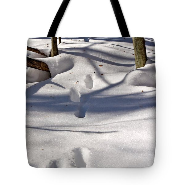 Footprints In The Snow Tote Bag by Louise Heusinkveld