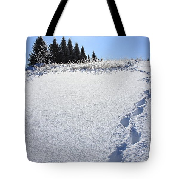 Footprints In The Snow Tote Bag by Penny Meyers