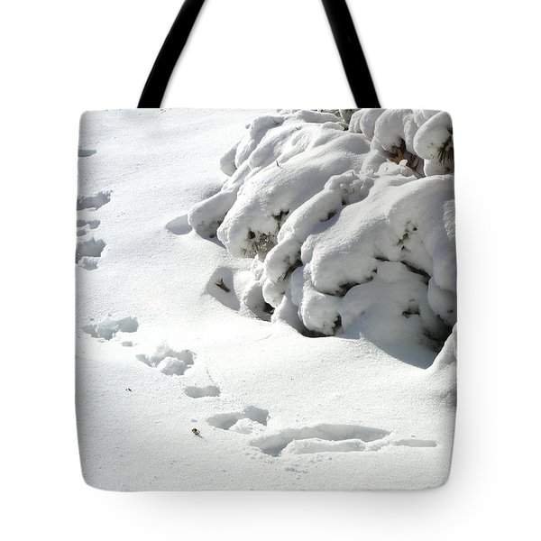 footprints in the Snow Tote Bag by Rachel Christine Nowicki