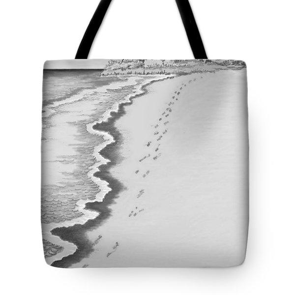 Tote Bag featuring the digital art Footprints On Boca Beach by Carol Jacobs