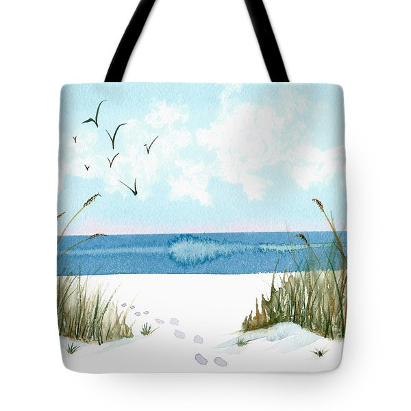 Footprints On The Beach In Blue And Green Tote Bag by Nan Wright