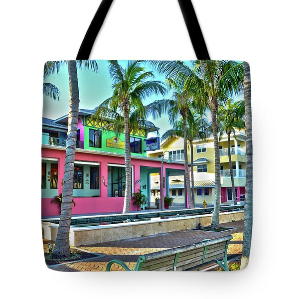 For Myers Beach Restaurant Tote Bag by Timothy Lowry