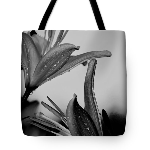 For The Love Of Lillies Bw Tote Bag by Lesa Fine