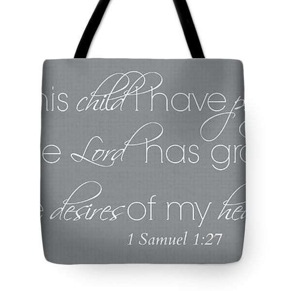For This Child I Have Prayed Whole Verse Small Tote Bag