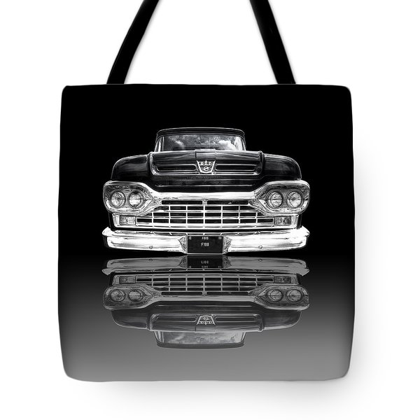 Ford F100 Truck Reflection On Black Tote Bag