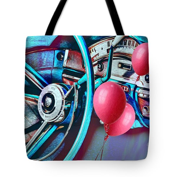 Ford Fairlane 500 Dashboard- Warhol-esque Tote Bag by Liane Wright