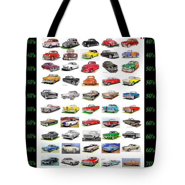 Four Decades Of Fords Poster Tote Bag