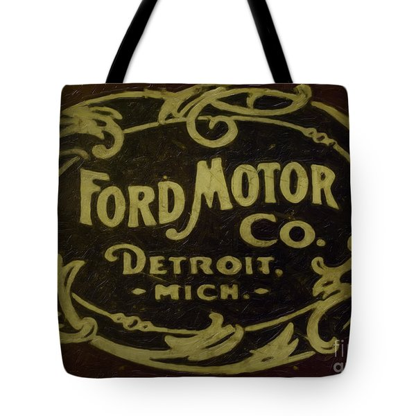 Ford Motor Company Tote Bag by David Millenheft