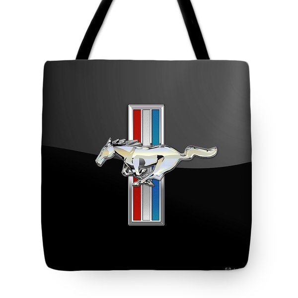 Ford Mustang - Tri Bar And Pony 3 D Badge On Black Tote Bag