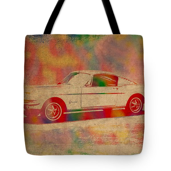 Ford Mustang Watercolor Portrait On Worn Distressed Canvas Tote Bag by Design Turnpike