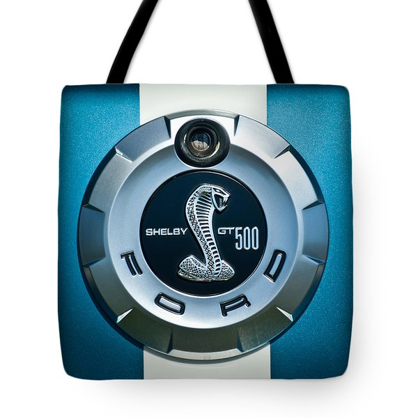 Tote Bag featuring the photograph Ford Shelby Gt 500 Cobra Emblem by Jill Reger