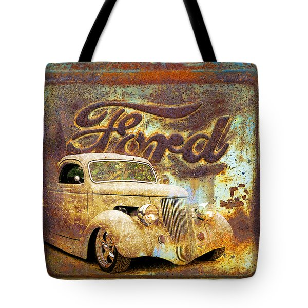 Ford Coupe Rust Tote Bag by Steve McKinzie
