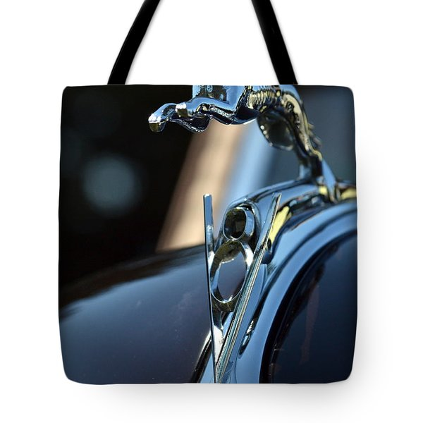 Tote Bag featuring the photograph Ford V-8 Hood Ornemant by Dean Ferreira