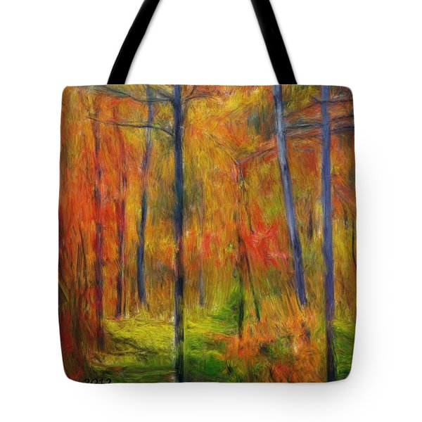 Tote Bag featuring the painting Forest In The Fall by Bruce Nutting