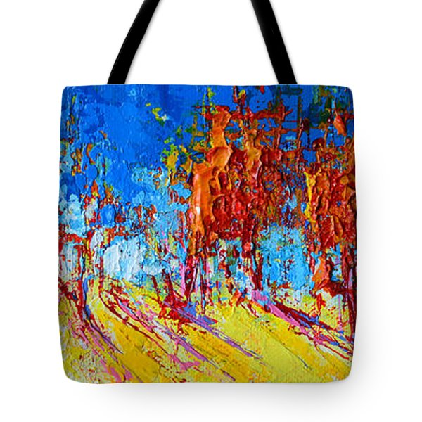Tote Bag featuring the painting Tree Forest 1 Modern Impressionist Landscape Painting Palette Knife Work by Patricia Awapara