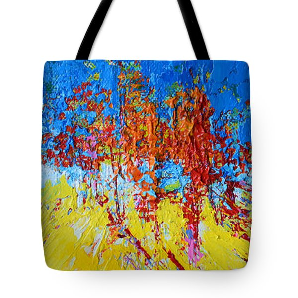 Tote Bag featuring the painting Tree Forest 2 Modern Impressionist Landscape Painting Palette Knife Work by Patricia Awapara