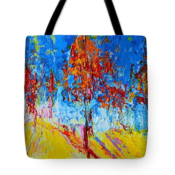 Tote Bag featuring the painting Tree Forest 4 Modern Impressionist Landscape Painting Palette Knife Work by Patricia Awapara
