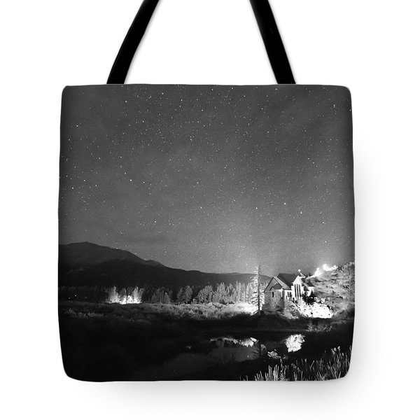 Forest Of Stars Above The Chapel On The Rock Bw Tote Bag by James BO  Insogna